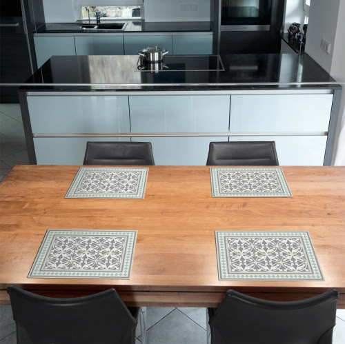 tischset vinyl bedruckt 40 x 30 cm motiv fliesen gr n. Black Bedroom Furniture Sets. Home Design Ideas