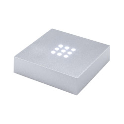 Fotogeschenke Leuchtsockel silberfarben mit weißen LEDs