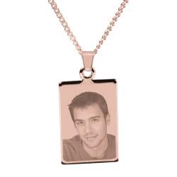 Fotogeschenke Halskette mit Gravur Rechteck - rosé-gold