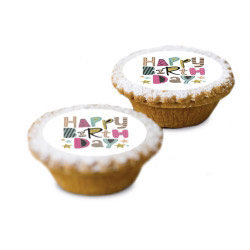 contento Cake Top Muffins 15 St. Ø 5 cm HAPPY BIRTHDAY PASTELL