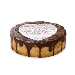 contento Cake Top Tortenbild Herz 20x19 cm  ICH LIEBE DICH