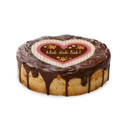 contento Cake Top Tortenbild Herz 20x19 cm  HAB DICH LIEB