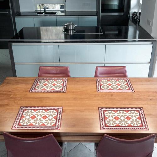 tischset vinyl bedruckt 40 x 30 cm motiv fliesen orange contento. Black Bedroom Furniture Sets. Home Design Ideas