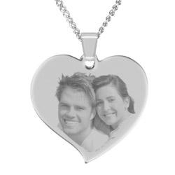 Fotogeschenke Halskette mit Gravur großes Herz - silber
