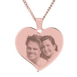 Fotogeschenke Halskette mit Gravur großes Herz - rosé-gold