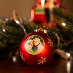Fotogeschenke Weihnachtskugel mit Foto rot