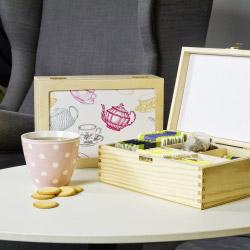 contento Teebox lila mit Teekannen-Motiv