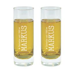 Fotogeschenke 2 x Schnapsglas L mit Gravur