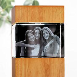 Fotogeschenke 3D Glasfoto mit Leuchtstele Holz L quer