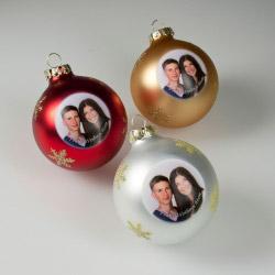 Fotogeschenke Weihnachtskugel mit Foto silber
