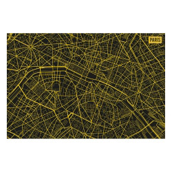 contento Vinyl Teppich MATTEO 60x90 cm Paris City Map Gelb