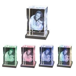 Fotogeschenke Edelstahl Sockel mit farbigen LEDs