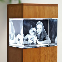 Fotogeschenke 3D Glasfoto mit Leuchtstele Holz S quer