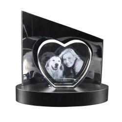 Fotogeschenke 3D Glasfoto + Clarisso® Sockel SET Herz S 100x110x35