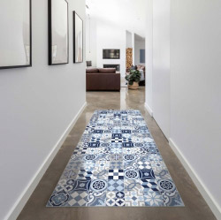 contento Vinyl Teppich MATTEO 60x90 cm Mosaik Blau