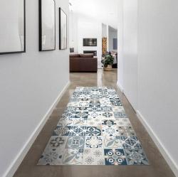 contento Vinyl Teppich MATTEO 60x90 cm Mosaik Blau-Beige