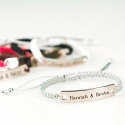 Fotogeschenke Gravur Armband Kordel silber