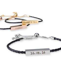 Fotogeschenke Armband geflochten mit Gravur silber