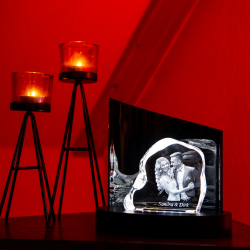 Fotogeschenke 3D Glasfoto ROCK + Clarisso® Leuchtsockel LED