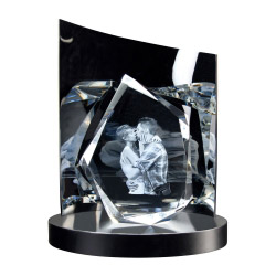 Fotogeschenke 3D Glasfoto DIAMOND L + Clarisso® Sockel - SET