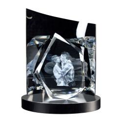 Fotogeschenke 3D Glasfoto DIAMOND L + Clarisso® Sockel - SET