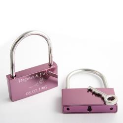 Fotogeschenke Liebesschloss L graviert - pink